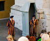 The Swiss guards at the Vatican smle for the tourists, nearly all young women taking pictures here, I wonder why?