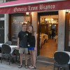 Ross and Lydia enjoyed our memorable dinner at this Osteria Leon Bianco, located near the Accademia in Venice.  July 19, 2016.
