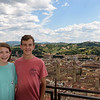Florence:  Lydia and Ross overlooking the city and hills from atop the Duomo. <br /> (photo taken July 16, 2016)