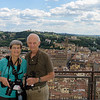 Florence:  Beth and Jim overlooking the city and hills from atop the Duomo. <br /> (photo taken July 16, 2016)