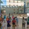 Our group admires statues in the Capitoline Museum's new glass enclosed courtyard including the  original 2nd-century AD bronze  equestrian statue of Marcus Aurelius, which until 1981 stood outside.