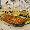 Our roasted salmon entree with roasted eggplant and zucchini at  Ristorante  Le Lanterna in Rome - June 10, 2016.