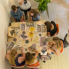 Rome: Bird's-eye view of pieces being created at the mosaic workshop.<br /> July 11, 2016