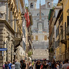 Rome:  View up the steep hill to the Spanish Steps and the Trinità dei Monti church at the top.<br /> July 10, 2016