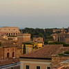 View to the Roman Colosseum in late afternoon from the roof of our hotel, Hotel Pace Helvezia.