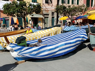 Fishing boats occupy the piazza by the harbour