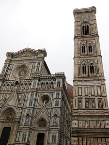 First views of the Cathedral of Santa Maria del Fiore and the Campanile di Giotto bell tower