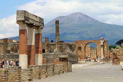 Pompeii - View along the eastern side of the Forum Civile to Mt Vesuvius.