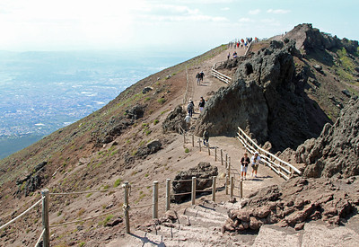 Vesuvius - Path around the summit crater, looking back towards Naples.