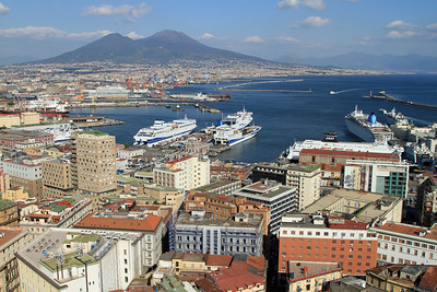 Naples - View over the Bay of Naples towards Mount Vesuvius.