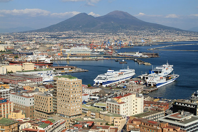 Naples - View over the harbour towards Mount Vesuvius.