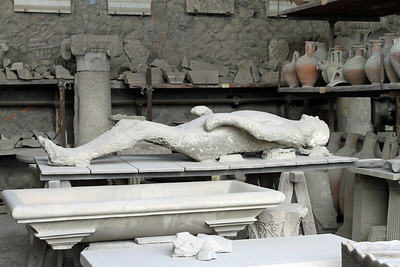 Pompeii - Plaster cast of a victim of the eruption of Mt Vesuvius.
