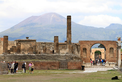 Pompeii - View over the temple of Jupiter in the Forum Civile to Mt Vesuvius.