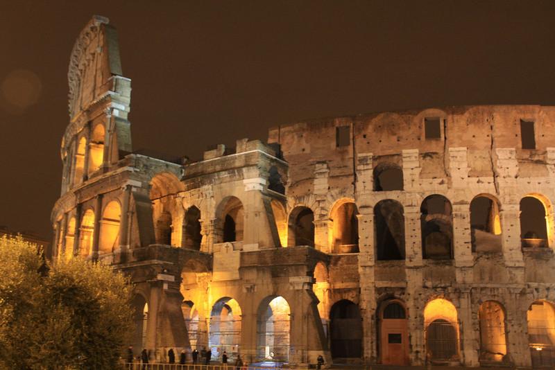 Roman Colosseum, early evening.  Construction was begun in 72 AD by Emperor Vespasian