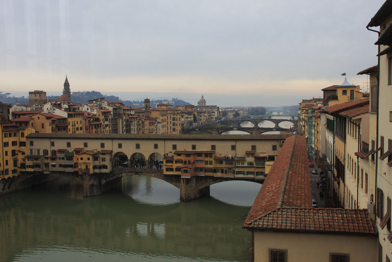 Pont del Vecchio and the other bridges of Florence as taken from the 2nd floor of the Ufizzi Museum