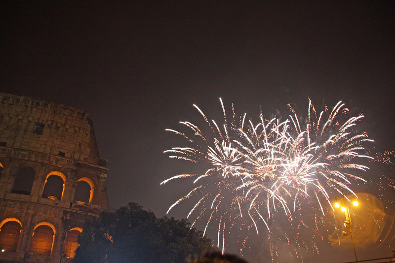 Midnight fireworks at the Colosseum