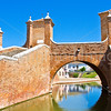 The famous Treponti bridge in  	Comacchio