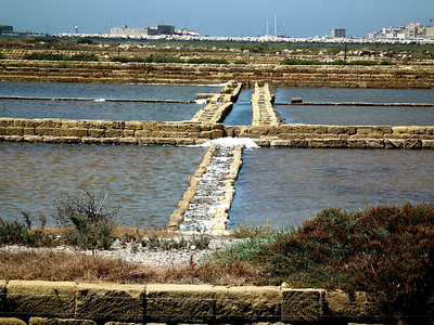 The Trapini Salt pans are all lined with stone.