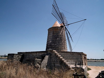 Water from the salt pans was moved by windmils.