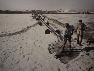 Men scrape the salt and send it to the shore via conveyorbelt.