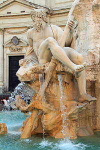 Piazza Novona - part of the Fontana dei Quattro fountain with statues representing the four great rivers of the world at that time (Nile, Plate, Ganges and Danube). This is the river-god Ganges.