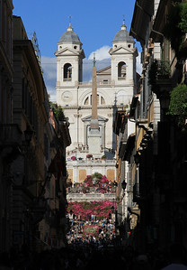 The Spanish Steps viewed along Via Condotti.