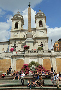 The Spanish Steps with Trinita dei Monti (16th century French church) and ancient Roman Obelisk (old copy of an Egyptian one).