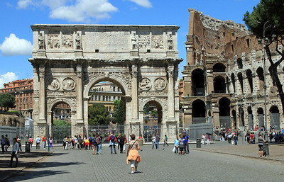Arch of Constantine, built AD 315, next to the Colosseum.