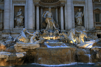The Trevi Fountain at dusk.