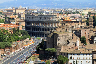 View of the Colosseum from the top of the Victor Emmanuel Monument.