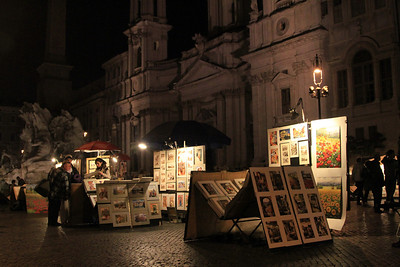 Stalls in Piazza Navona on Saturday night.