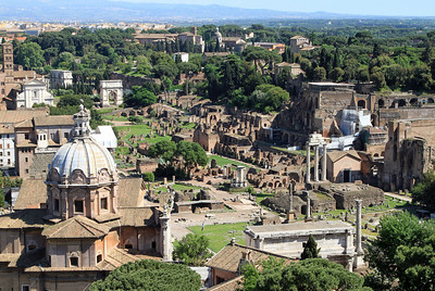View of the Roman Forum from the top of the Victor Emmanuel Monument.