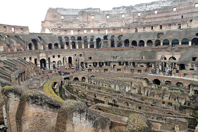 Inside the Colosseum (on a wet Saturday).