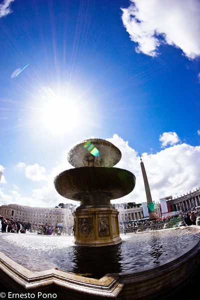 Vatican fountain.<br /> <br /> We were lucky to get a nice, sunny day in Rome.