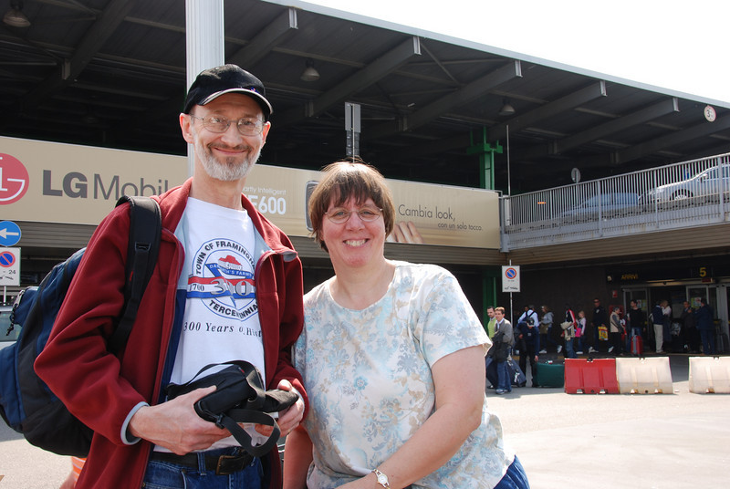 Brian & Bev at our first stop - the airport in Milan, before we caught the bus to the train station and the train up to Varenna.