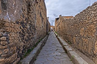 A narrows Roman street in Pompeii