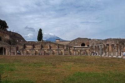 PRuins of Pompeii with Mount Vesuvius in the background