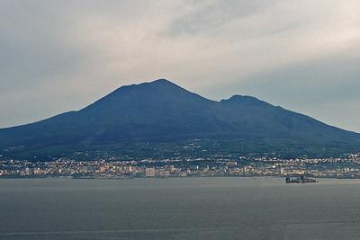 City of Naples below Mount Vesuvius, Pompeii is five miles from the mountain