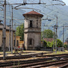 Italy / Switzerland - I'm not sure what this Tower is, but it appears to be an unused Railway Control Tower.  Note the large number of electric wires above the tracks which power the trains.