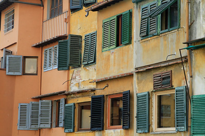 Florence - Windows and louvres on the Ponte Vecchio.