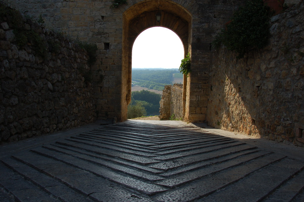 View of the Tuscan countryside from Monteriggioni. <br /> Monteriggioni is a medieval hilltop town. Very sleepy and small but also very quaint with stunning views of the valley below