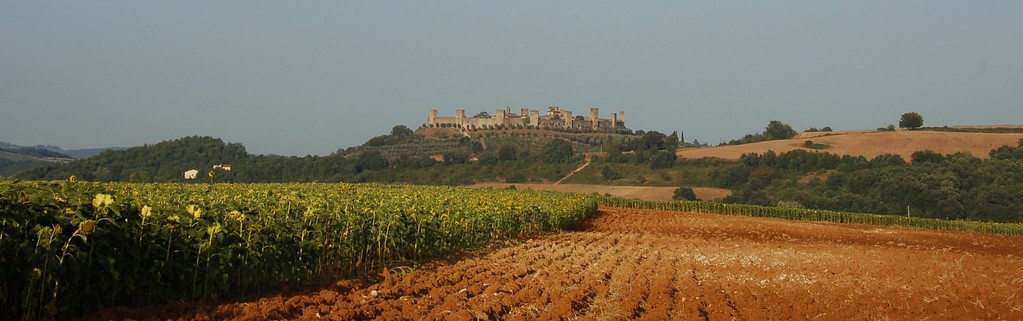 View of Monteriggioni from the road