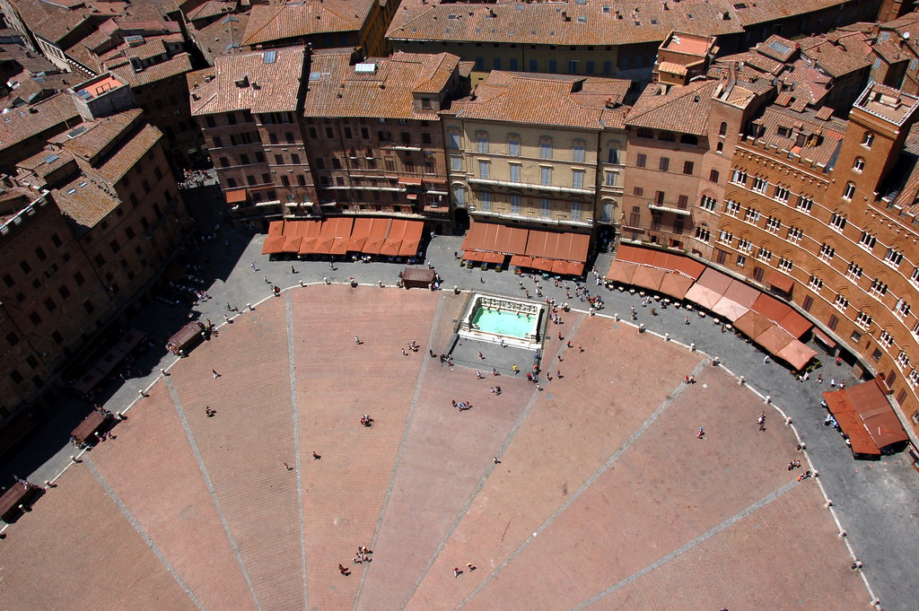 View of the piazza del Campo from the top of Torre del Mangia, Siena  - the Campo is divided into 9 sectors representing the 'Council of Nine' which was responsible for the government of the medieval city