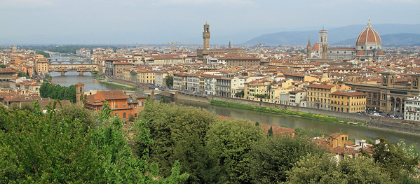 Florence - Wider view over the city of Florence and the River Arno from Pizzale Michelangelo.
