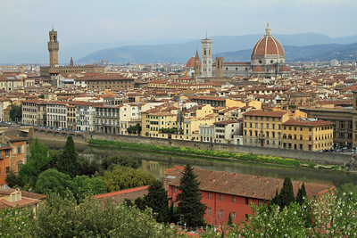Florence - View over the city and River Arno from Pizzale Michelangelo.