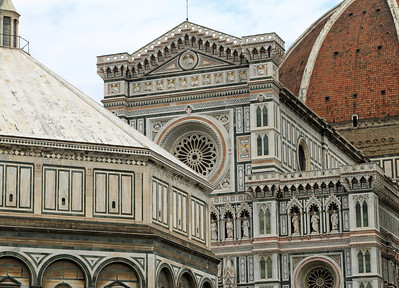 Florence - The Baptistry (left), façade of the Duomo and the Duomo dome.