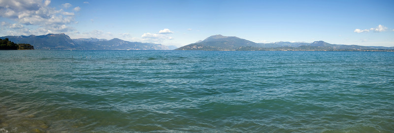 A panorama view of a small portion of Lake Garda.