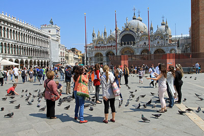 Playing with the pigeons in Piazza San Marco (St Marks Square).  Basilica di San Marco in the background.