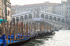 Gondolas and the Rialto Bridge.