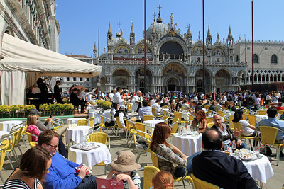 Cafe with band in Piazza San Marco outside Basilica di San Marco.